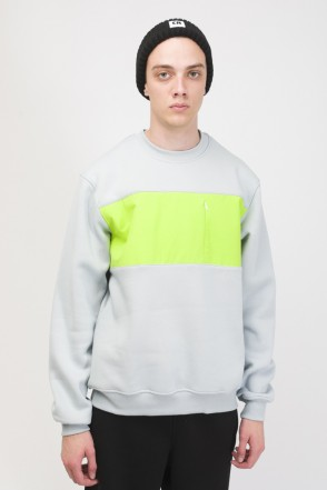 Block Crew-neck Light Ash Gray/Light Lime