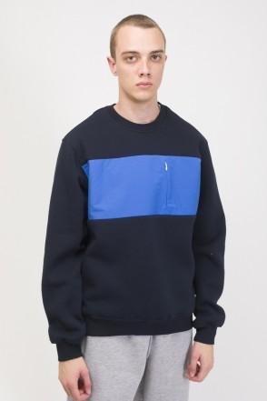 Block Crew-neck Navy/Cornflower Blue