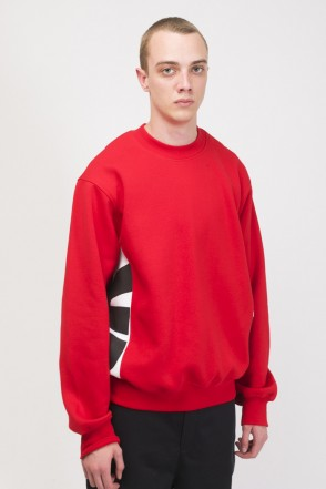 Trace Crew-neck Red/White/Black print CR