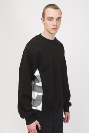 Trace Crew-neck Black/White/Light Gray print CR