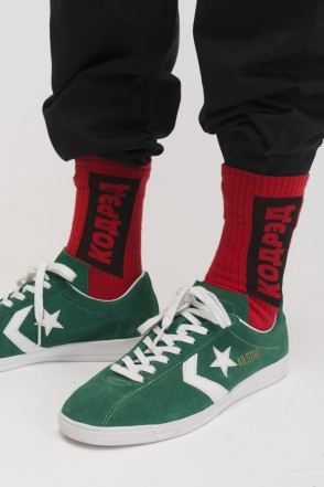 Vertical Cyrillic Socks Red/Black-red Logo