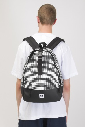 Standart Mini Backpack Black Taslan/Moving Cubes Pattern White