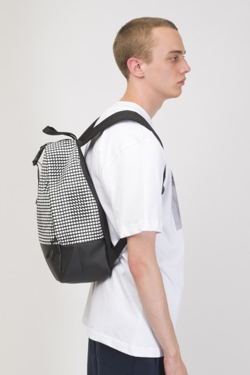 Рюкзак Standart Mini Черный Таслан/Паттерн Moving Cubes Белый
