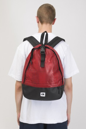 Standart Mini Backpack Red Taslan/Moving Cubes Pattern Black