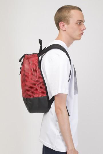 Standart Mini Backpack Red Taslan/Moving Cubes Pattern Black