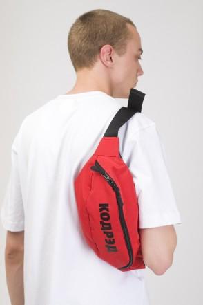 Сумка поясная Hip Bag Large Красный Таслан/Черный Принт КОДРЭД
