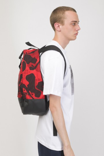 Standart Backpack Red Camo/Black Leather