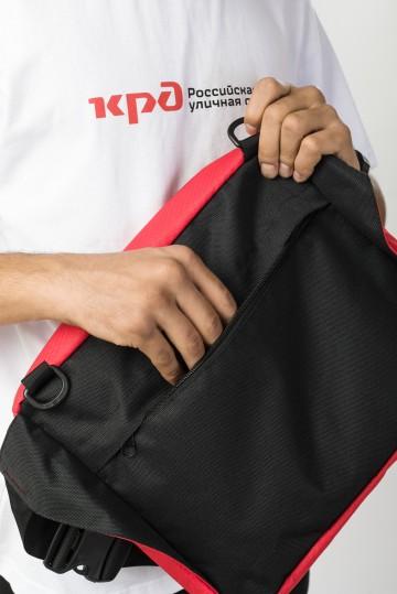 Сумка поясная Big Bag 2 600 ml Красный Соты Оксфорд/Черный Кожзам