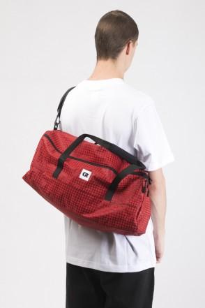 Duffle Bag Red Taslan/Bent Grid Pattern Black