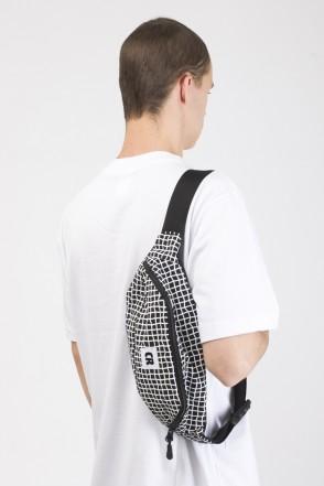 Hip Bag Large Black Taslan/Bent Grid Pattern White