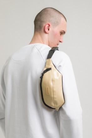 Сумка поясная Hip Bag Бежевый Блестящий иск. Кожа