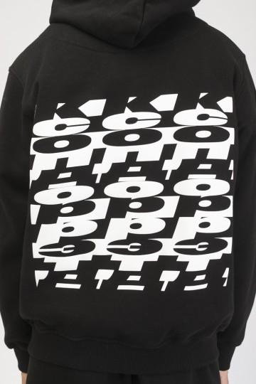 Толстовка Hood Up Черный Cyrillic Mix Back Pattern