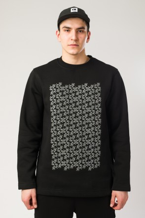 Sleeve Crew-neck Black Smooth Dazzle Pattern
