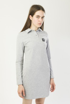 Adress Polo Dress with Long Sleeves Gray Melange