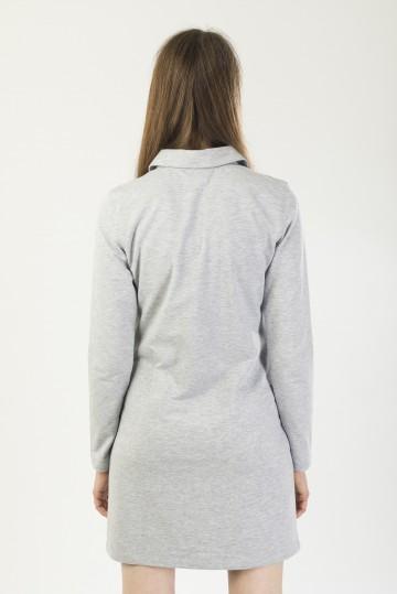 Платье-поло женское с длинным рукавом Adress Серый Меланж