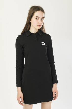 Adress Polo Dress with Long Sleeves Black