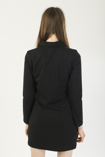 Платье-поло женское с длинным рукавом Adress Черный