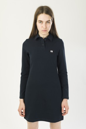 Adress Polo Dress with Long Sleeves Navy