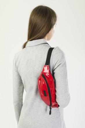 Сумка поясная Hip Bag Красный Блестящий иск. Кожа