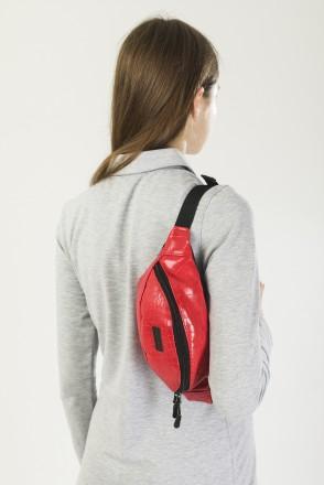 Сумка поясная Hip Bag Красный иск. Кожа Крокодил