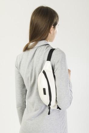 Hip Bag Shiny White Art. Leather