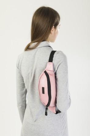 Сумка поясная Hip Bag Розовый Бледный иск. Кожа Крокодил