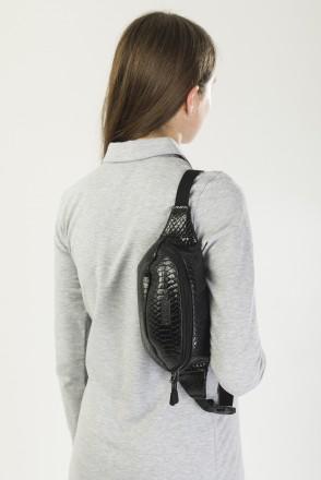 Сумка поясная Hip Bag Черный иск. Кожа Крокодил