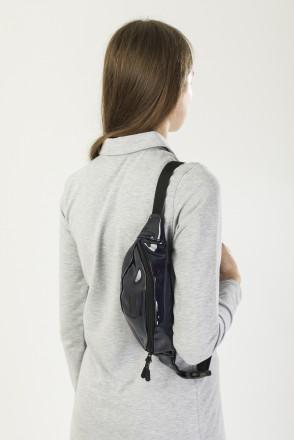 Hip Bag Shiny Dark Blue Art. Leather