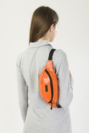Сумка поясная Hip Bag Оранжевый иск. Кожа Крокодил
