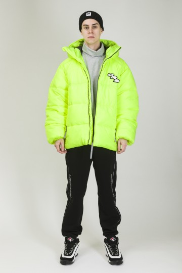 Puffed Jacket Fluorescent Reflective Lemon