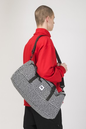 Duffle Bag Black Taslan/Bent Grid Pattern White