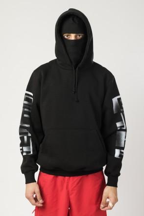Base Hoodie Wide Black Vertical Noise Font
