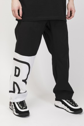 Knee Cut Pants Black/White
