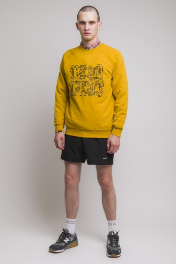 Firm Summer Crew-neck Chaos Lines Cyrillic Mustard