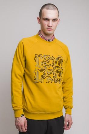 Firm Summer Crew-neck Chaos Lines Cyrillic Mustard