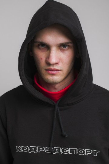 Hood Up Summer Hoodie Black Outline Sport Cyrillic
