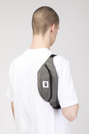 Сумка поясная Hip Bag Серый Темный Микрофибра