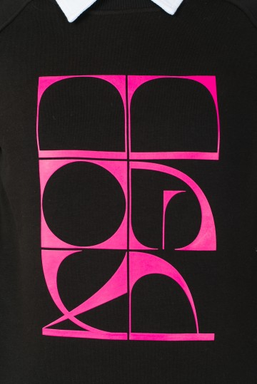 Толстовка-Крюнек Clean Черный Curved Cyrillic Vertical