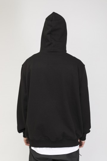 Base Hoodie Wide Summer Black/Print Tear Outline Cyrilic