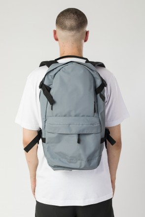 Action Backpack Gray Taslan/White Print CR