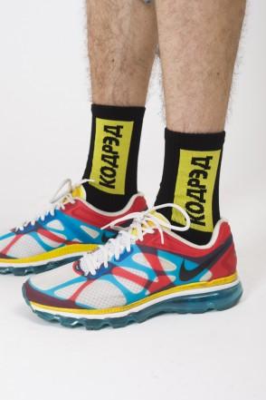 Носки Vertical Cyrillic Socks Черный/Желто-черное лого