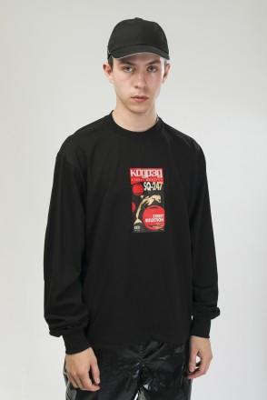 Wide Sleeve Shirt Black/Print VHS Dolphin SQ-251