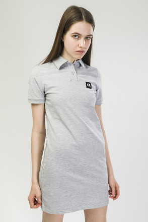 Adress Polo Dress Gray Melange