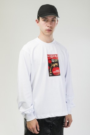 Wide Sleeve Shirt White/Print VHS Dolphin SQ-256