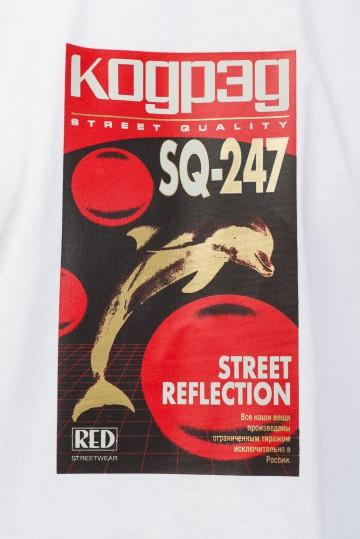 Футболка-лонгслив Wide Sleeve Белый/Принт VHS Dolphin SQ-247