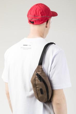 Сумка поясная Hip Bag Коричневый иск. Замша