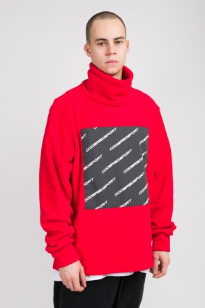 Highneck Fleece Sweatshirt Red/Dark Gray