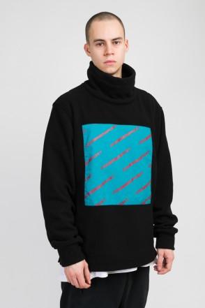 Highneck Fleece Sweatshirt Black/Seagreen