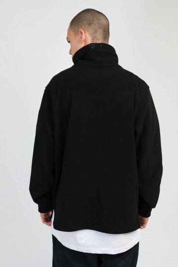 Highneck Fleece Sweatshirt Black/Seagreen