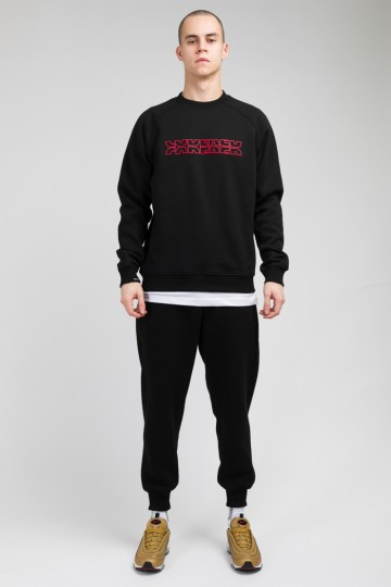 Firm Crew-neck Outline Cut Black